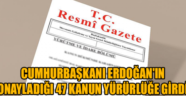 Erdoğan'ın onayladığı 47 kanun yürürlüğe girdi